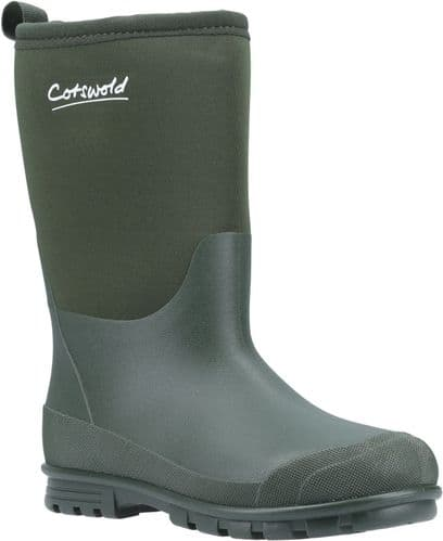 Cotswold Hilly Neoprene Childrens Wellingtons Green
